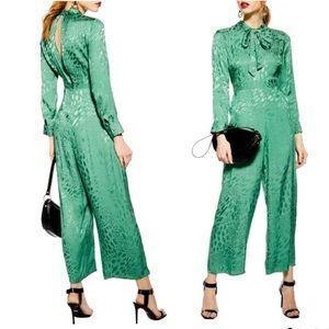 NWT Topshop Tie Neck Jacquard Crop Jumpsuit Green